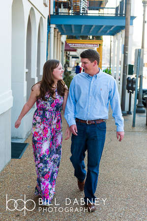 Engagement portrait of Kathryn & Jordan on the Oxford Square, by north Mississippi based wedding photographer Bill Dabney.