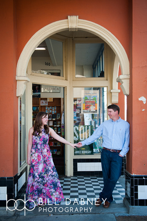 Engagement portrait of Kathryn & Jordan at Square Books by North Mississippi based wedding photographer Bill Dabney.